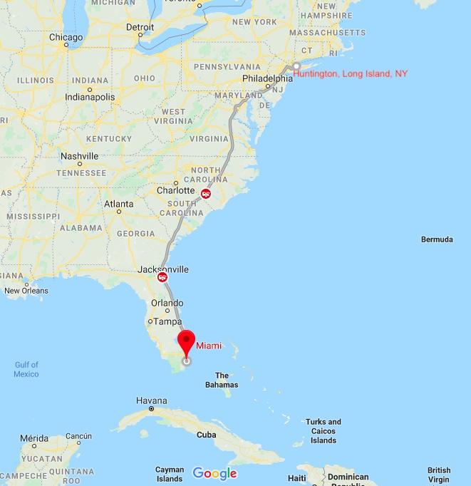 Huntington, New York to Miami, Florida, USA