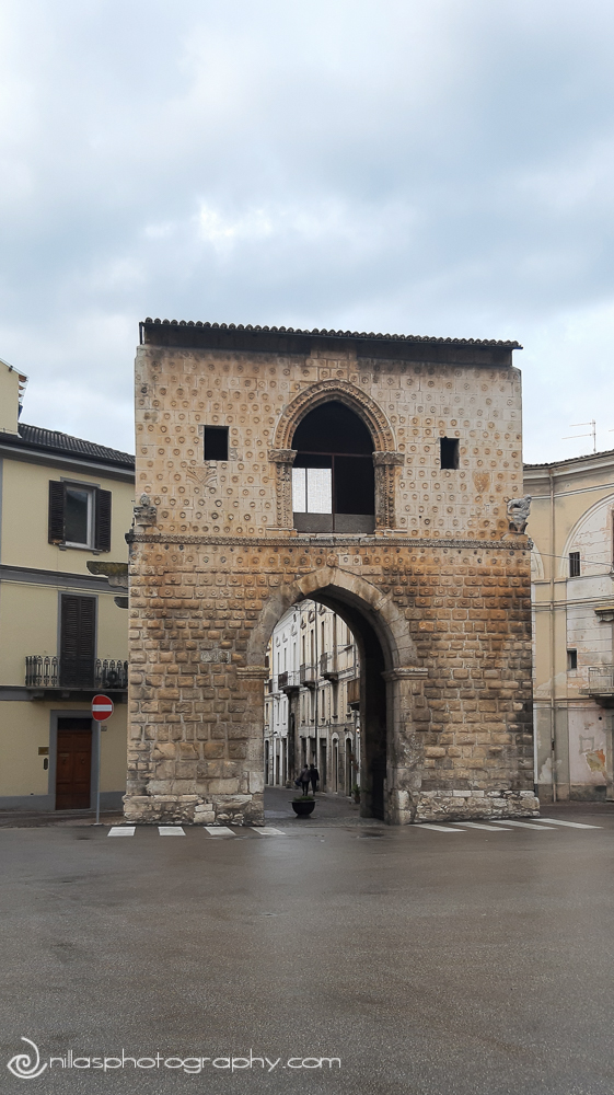 Close up of Porta Napoli, Sulmona, Abruzzo, Italy, Europe
