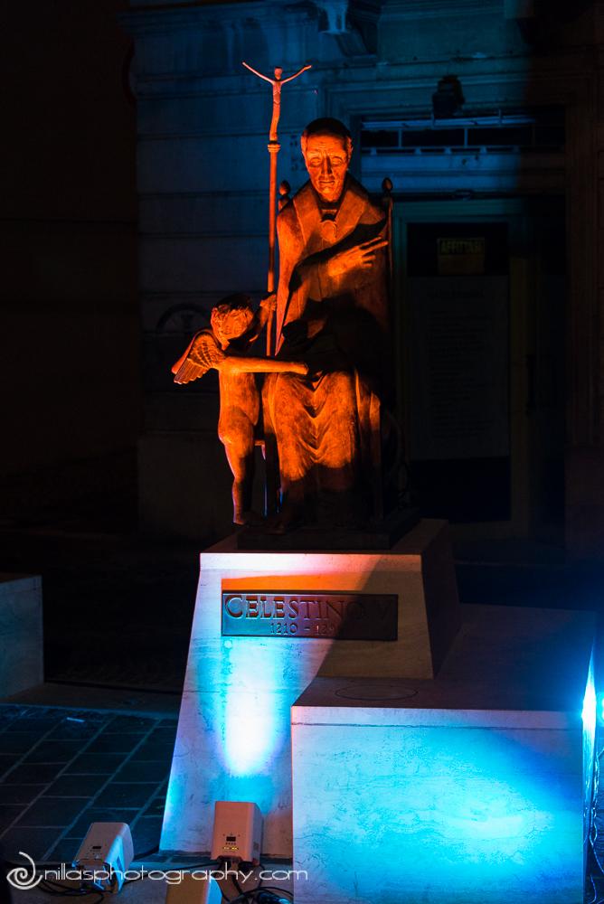 Celestino V statue, Lamp On, Sulmona, Abruzzo, Italy