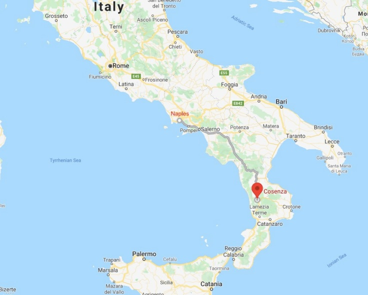 Bus route from Naples to Cosenza, Calabria, Italy Europe