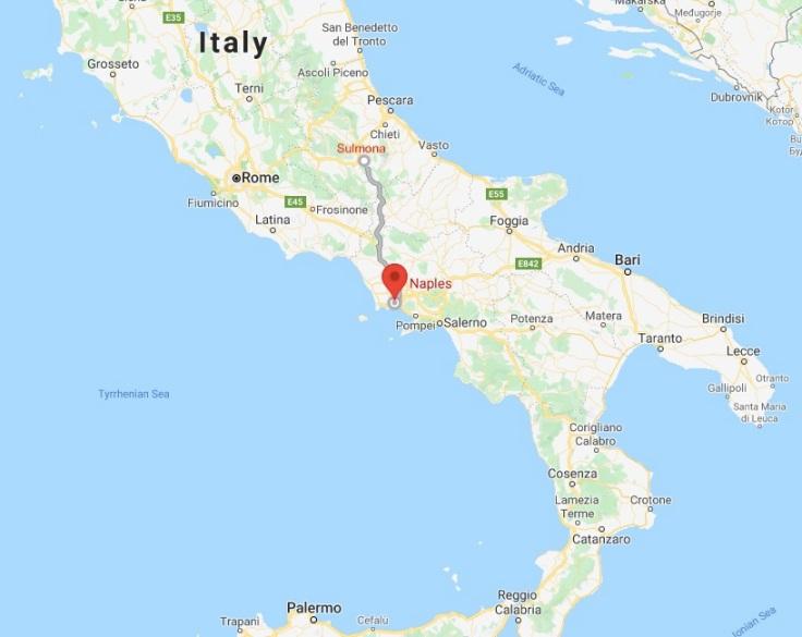 Bus route from Sulmona to Naples, Abruzzo, Italy Europe