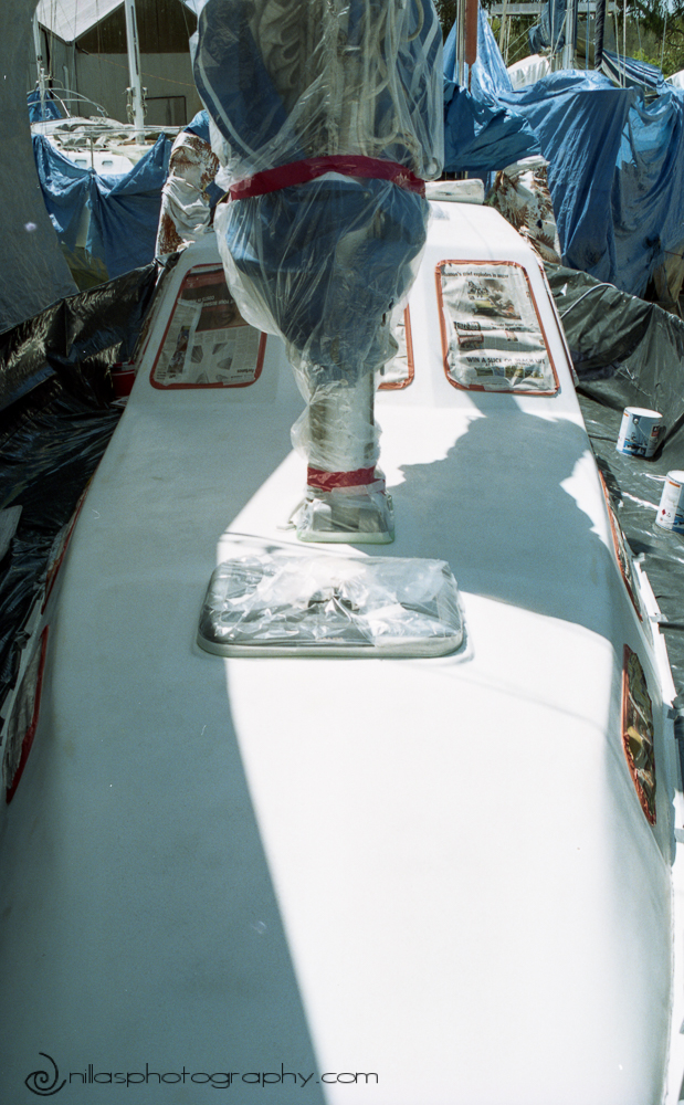 Spray painting a sailing boat, Brisbane, Queensland, Australia, Oceania