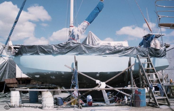 Undercoating topsides a sailing boat, Brisbane, Queensland, Australia, Oceania