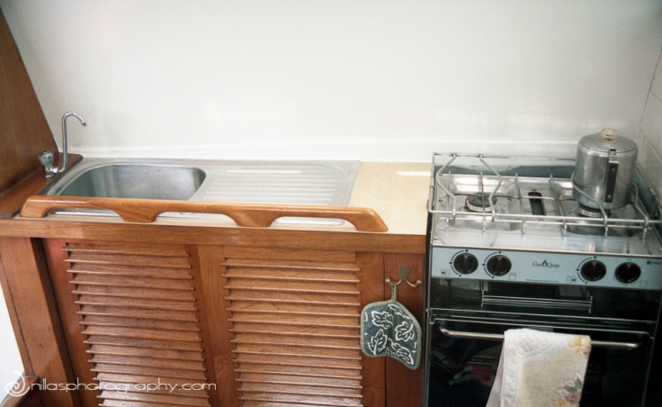 Galley, Below decks of a sailing boat, Brisbane, Queensland, Australia, Oceania