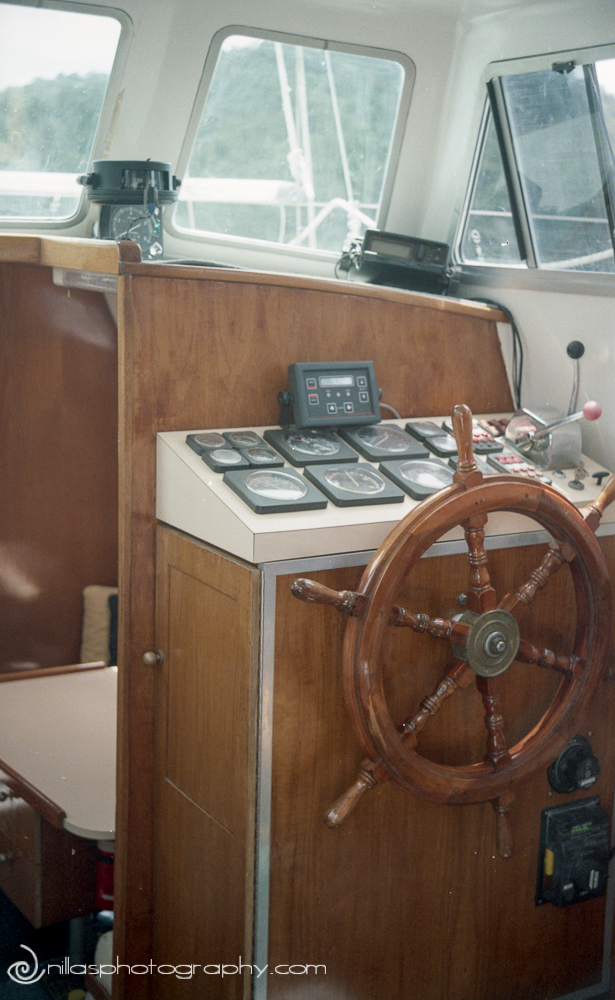 Wheelhouse, Below decks of a sailing boat, Brisbane, Queensland, Australia, Oceania