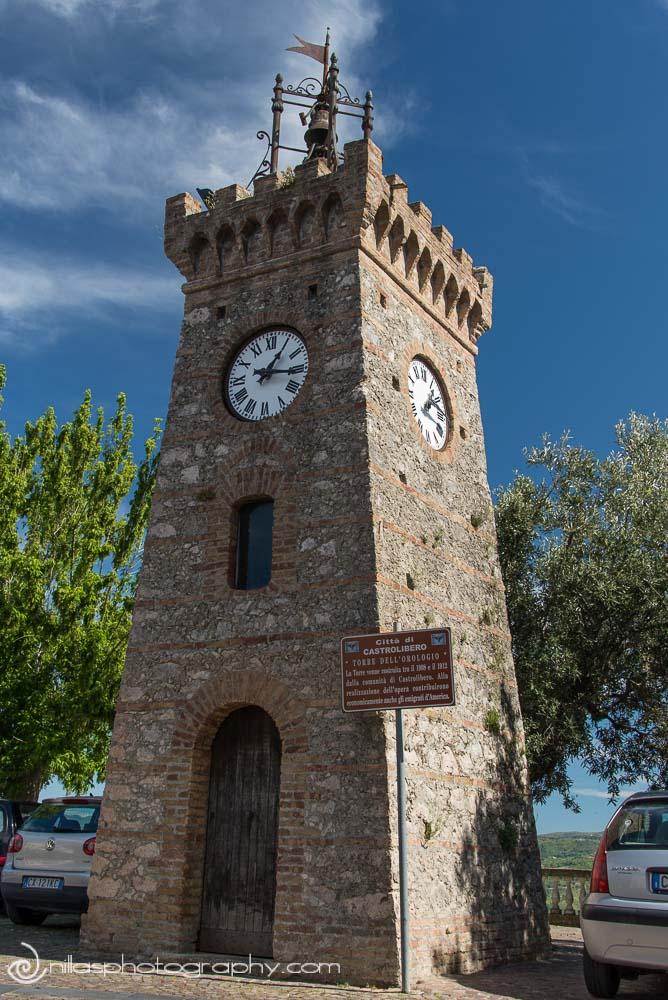 Clock tower, Castrolibero, Calabria, Italy, Europe