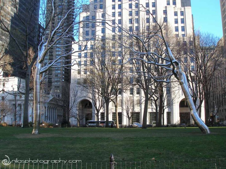 Steel tree sculptures, New York, USA