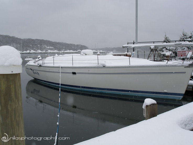 Launched under snow, Catalina 47', Long Island, New York, USA