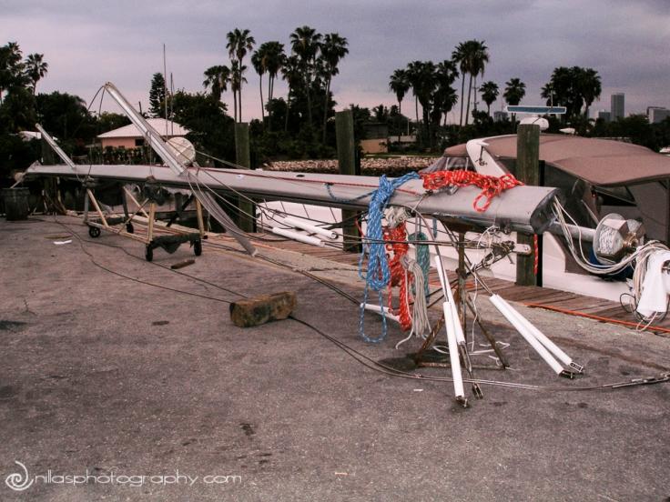 Stepping the mast, Catalina 470, Miami, Florida, USA