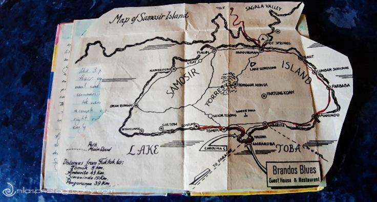 Samosir Island map, Lake Toba, Sumatra, Indonesia, SE Asia