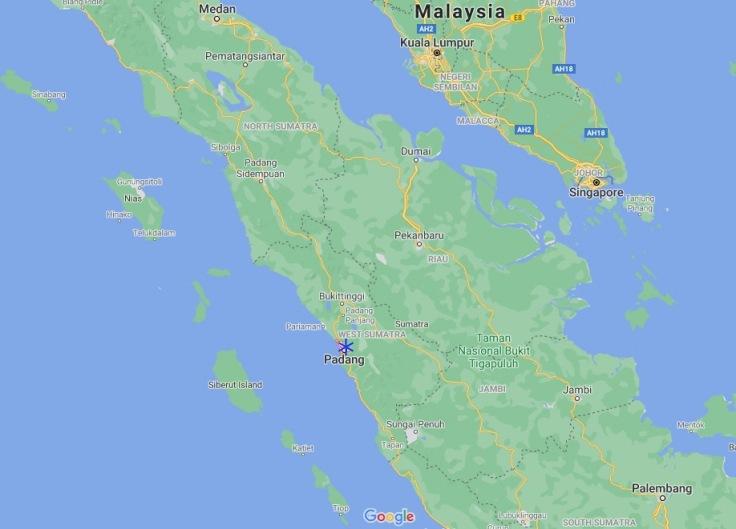 map of Padang, Sumatra, Indonesia, SE Asia