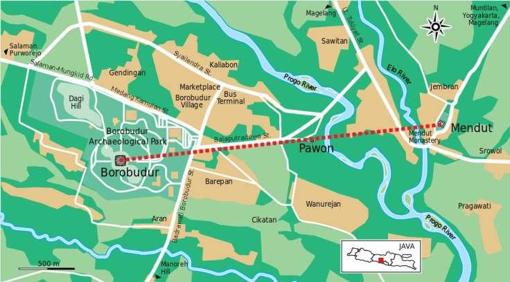 Map of Borobudur line, Yogyakarta, Central Java, Indonesia, SE Asia