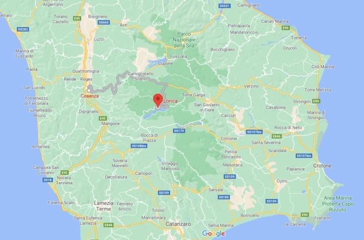 Cosenza to Lorica map, Sila, Calabria, Italy Europe