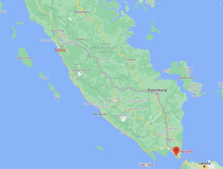 Padang to Kalianda, Sumatra, Indonesia, SE Asia