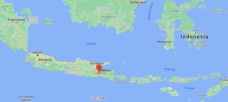 Map of Mt Bromo, Bromo-Tengger-Semeru National Park, Java, Indonesia, SE Asia